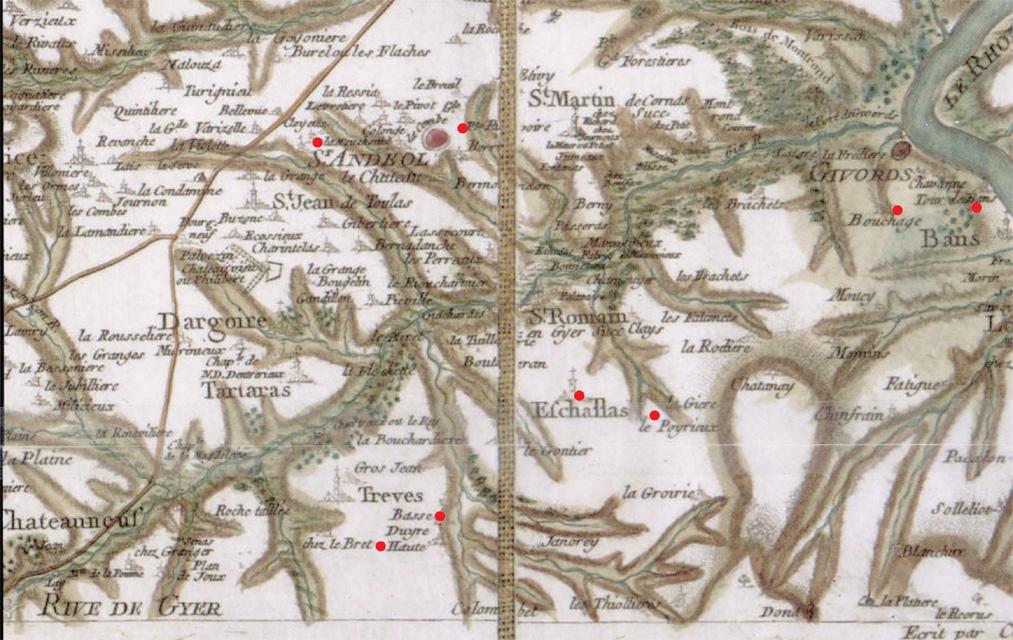 Carte de Cassini des environs de Givors et Saint Andéol le Château