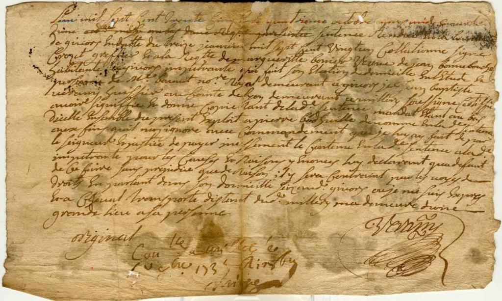 Commandement à payer contre Pierre Bodhuile - 1735