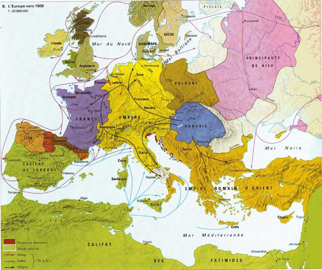 Carte de l'Europe en l'an mil - source djinfizz.files/